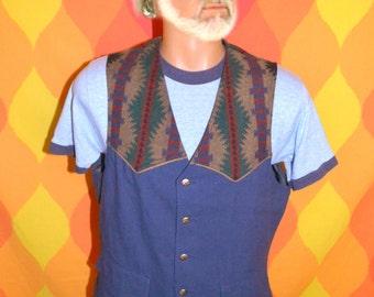 vintage 70s vest PENDLETON blanket navajo wool western native cowboy ethnic Medium 80s
