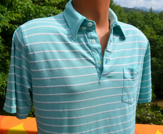 Vintage 70s golf shirt polo penguin mint green stripe grand for Mint color polo shirt