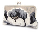 Clutch bag, flower purse, wedding, bridal accessory, bridesmaid gift, with gift box, PAINTED PEONY