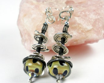 Borosilicate Glass Earrings, Forged Sterling Silver Earrings, Fine Silver, Rubber and Silver Earrings, Boro Bead, Futuristic, Boho - Nebula