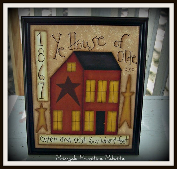 Primitive Saltbox House Stars Canvas Sampler Home Decor By