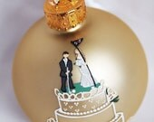 Custom Cake Topper Wedding Ornament - Hand Painted and Personalized