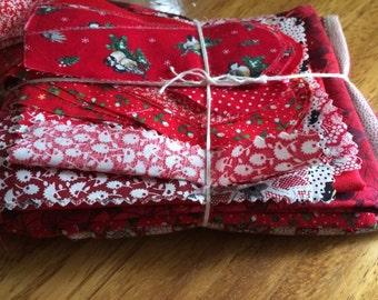 Scrap Bundle -Red- SB17- Fabric Scraps / Vintage Scraps / Destash / Fabric Destash / Linen Scraps / Vintage Destash