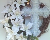 Easter Wreath / Spring Wreath / Front Door Wreath / White Lily Wreath / Mothers Day Wreath .