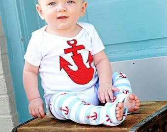 Anchor and Stripe Baby and Kid Leg Warmers - Arm Warmers or Leggings for Infant, Toddler - Birthday or Shower Gift for Boy or Girl