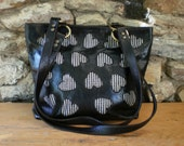 Large tote with inlaid fabric hearts