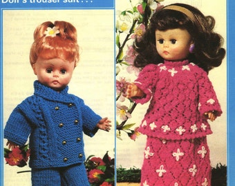 "Vintage Dolls Troser Suit and Evening Set for 14"" Doll, Knitting Pattern, 1960 (PDF) Pattern, Patons 1229"