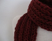 Dude Scarf man scarf boyfriend scarf hand knit scarf wool scarf long scarf red scarf cranberry red for him for dad scarves for men