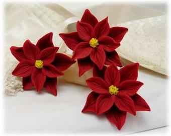 Red Poinsettia Hair Pins - Red Poinsettia Hair Flowers, Red Poinsettia Hair Clips, Poinsettia Bobby Pins, Poinsettia Hair Accessories