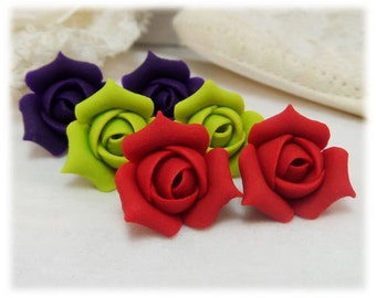 Rosebud Stud Earrings - Rosebud Jewelry, 1 pair Rosebud Stud or Clip on Earrings