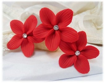 Red Hair Flowers - Red Flower Hair Pins, Red Wedding Hair Flowers