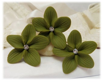 Olive Green Hair Flowers - Olive Flower Hair Pins, Olive Green Wedding Hair Flowers