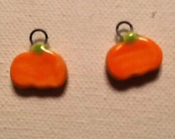 Ceramic Halloween Pumpkins Charms Earring Pair