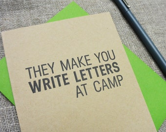 Letterpress Camp Note: They Make You Write Letters at Camp.