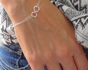 Infinity Bracelet,Infinity Jewelry,Sideways Infinity Friendship Bracelet Gift Jewelry for Her Double Chain Hammered Infinity Mothers Gift