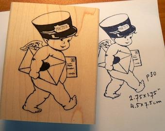 Fracteur, postman  rubber stamp Valentine's Day P30