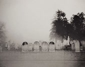 Halloween Decor, Old Cemetery Photograph, Haunted Graveyard Photo, Fine Art Print, Black and White, Graveyard Photo, Gothic, Dark Art, fog