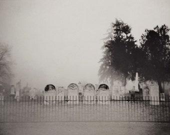 Halloween Decor, Old Cemetery Photograph, Haunted Graveyard Photo, Fine Art Print, Black and White, Graveyard Photo, Gothic, Dark Art, fog