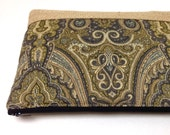 Clutch Purse Free Personalization - Taupe Green Brown Gray Paisley, Burlap Panel