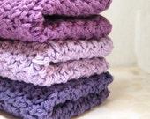 Purple Wash Cloths, Crochet Lilac Dish Cloths, Violet Cotton Washcloths, Eco Friendly Cleaning, Lavendar Bath Cloths, Crochet Dishcloths