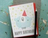 Happy Birthday Bear Letterpress Note Card