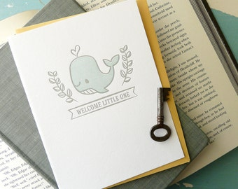 Welcome Little One Whale Letterpress Note Card