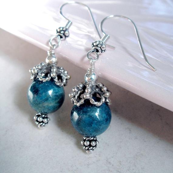 Teal Blue Apatite Earrings Sterling Silver Healing Stone Drop Earrings
