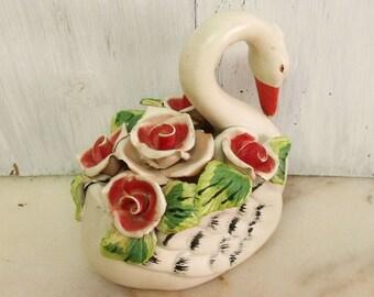 Vintage big ceramic Swan with Roses handmade