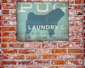 Pug Laundry Company illustration graphic art on canvas panel by stephen fowler