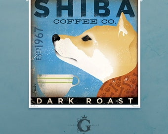 Shiba Inu Coffee Company illustration giclee archival signed artist's print by Stephen Fowler