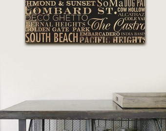 San Francisco typography illustration graphic  word art on gallery wrapped canvas by stephen fowler