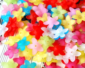 50 Pc 16mm Wide Flattened Frosted Flower Beads