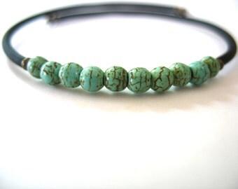 Turquoise Bracelet, Turquoise Stone Cuff Bounce Back Bracelet, Handmade Turquoise Jewelry