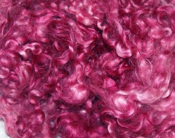 Hand Dyed Cotswold Sheep Curls Locks for Spinning, Felting, Doll Hair, Doll Wig, in Shades of Plum 1 oz.
