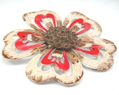 """MOD Flower Brooch by """"Hedy"""", Metal Enameled, Vintage c1960s, Red, White, Brown Pin, Costume Jewelry Flower Power"""
