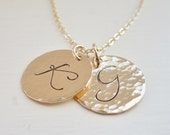 Personalized gold initial necklace, two gold initials, large script initial disc, cursive, hammered gold initial charms, couples necklace,