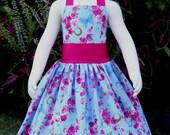 Girls Halter Dress, Butterfly Dress For Girls, Boutique Dress, Girl Blue Dress, Hot Pink Dress, Vintage Style Girl Dress, Fall Dress