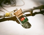 Miniature terrarium jewelry - Little fairy tale mushroom and moss in a bottle necklace. Natural history, autumn jewelry.