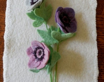 Anemone - Felted Flower - choice of color