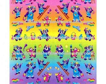 Lisa Frank Panda Painter Sticker Sheet S725 artist paint