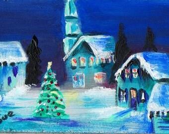 original art acrylic painting aceo Winter village Christmas scene