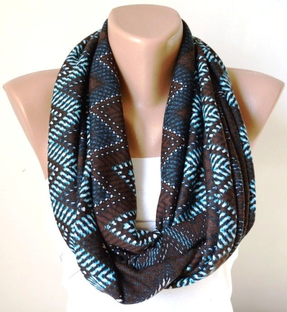 SALE-Chevron Scarf. Loop Scarf .Cowl Scarf. Circle Scarf. Brown and Blue. Jersey Scarf
