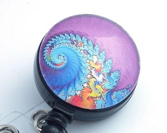 Psychedelic Swirls Blue Orange on Purple Cabochon Retractable Badge Reel, Name Badge Holder 149