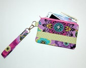 Purple and Teal Floral - Wristlet Purse with Removable Strap and Interior Pocket