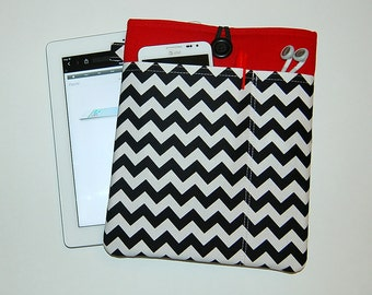 SALE Chevron Black and White on Red - iPad Padded Sleeve Cover with Front Pockets