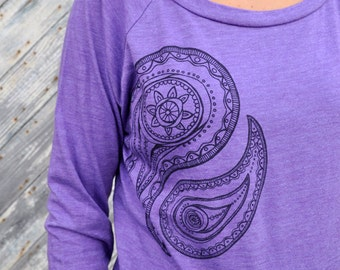 womens long sleeve paisley design purple shirt womens shirt womens clothing screenprint purple shirt scoop neck relaxed fit gift for her