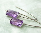 Sparkling Lavender Amethyst Earrings Handmade Sterling Silver Arch Design