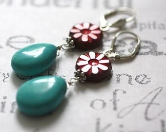 Red Glass Flower and Turquoise Earrings, Turquoise and Sterling Silver Artisan Jewelry, Red Flower and Turquoise Drop Earrings