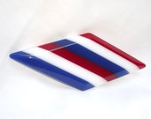 Vintage Acrylic Pin, Red White Blue, Brooch, Striped, Thermoset, Plastic, Bold Parallelogram Shape, Diamond Shape, Retro, 1970s, Modern