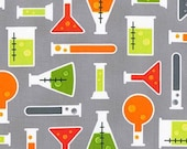 Science Fair Fabric, Science Fabric by Illustration Ink for Robert Kaufman- Science Lab in Gray- Fat Quarter to Yardage, Mod Geek fabric